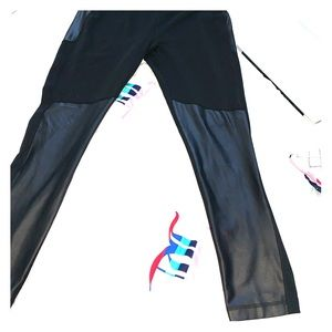 Leather paneled leggings